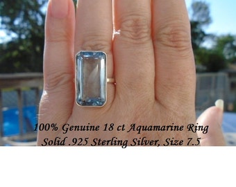 100% Genuine 18 ct Emerald Cut Aquamarine