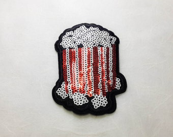 Popcorn Sequin Iron on Patch (M)#T2 - Sequin Popcorn, Glitter Applique Iron on Patch - Size 6.1x9.4 cm