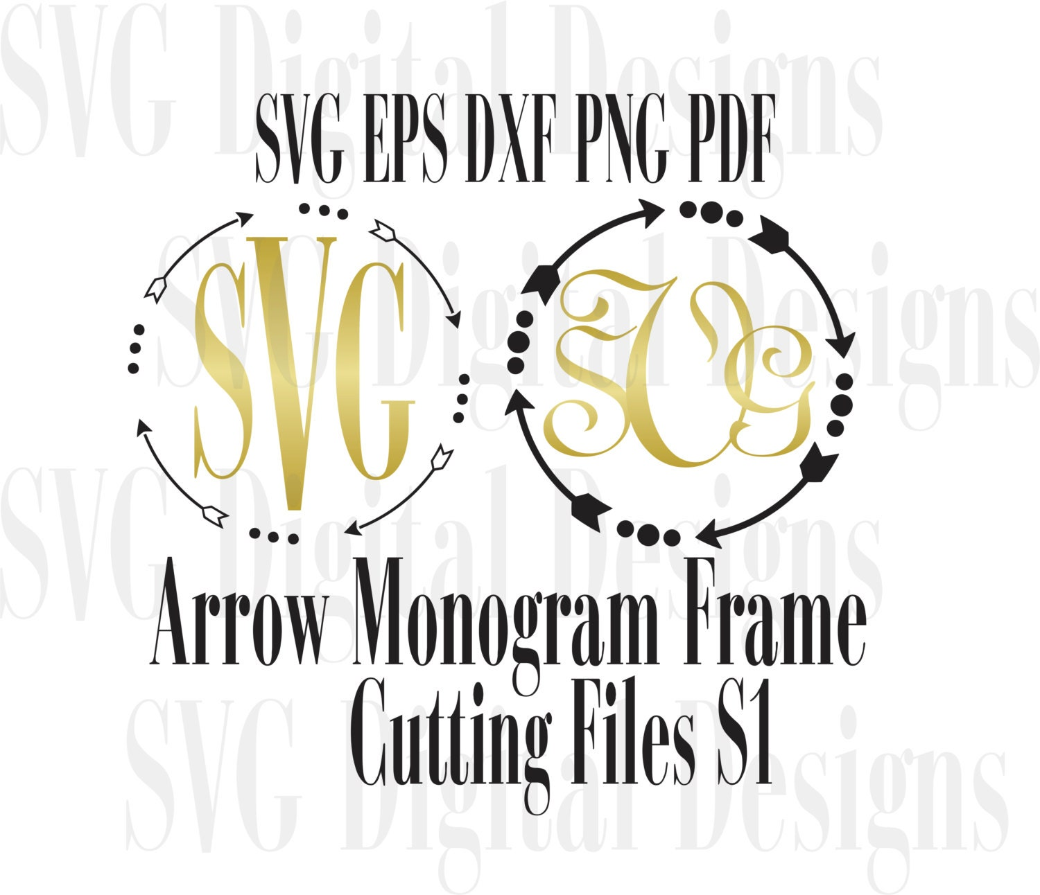 Arrow Monogram Svg Files Cute Arrow Svg Digital Design