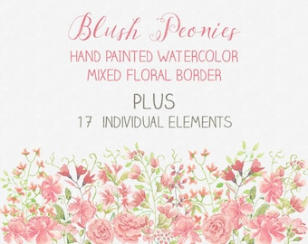 Floral border plus elements: blush Peonies; hand painted watercolors; wedding clip art - instant download
