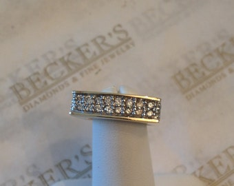 Vintage unique 14k yellow gold Square Shaped Band Ring 24 Diamonds .50 tw HI-I1 size 6.75 with Square Shank