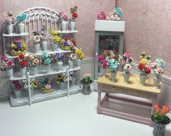 Dollhouse Miniature Vase of Flowers