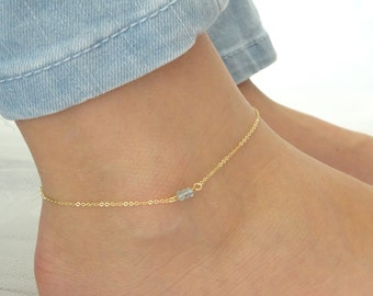 Aquamarine anklet, March Birthstone, Genuine Aqua Gold fill anklet, Aquamarine jewelry Dainty Rose gold anklet
