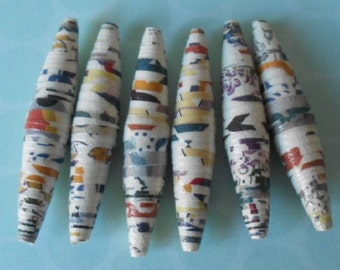 6 Handmade paper focal beads, chintz