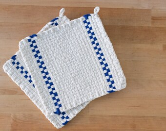 White and Blue Stripe Large Loom Woven Potholder, Hotpad, or Trivet
