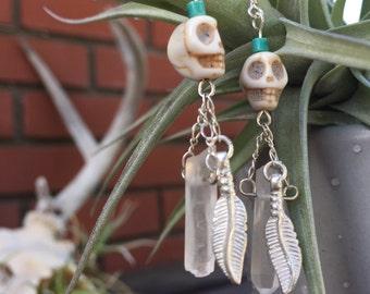 Skull Feather Crystal Earrings