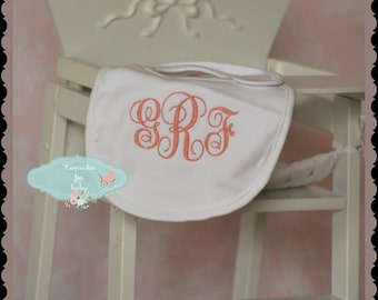 personalised monogram baby bib cotton embroidered