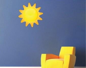 Sun Wall Decal Mural, Sun Art Sticker, Nursery Sun Design, Sun Wall Decor, Sun Wall Mural, Sun Wall Applique, Kid's Room Sun Decal, n66