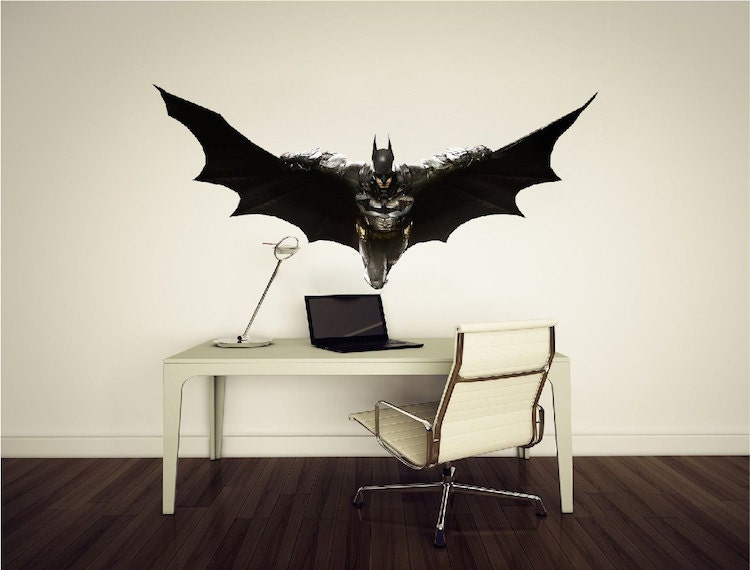 Batman decal flying batman wall decal arkham knight batman for Batman wall mural decal