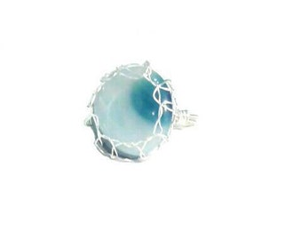 Agate Ring, Gemstone Ring, Silver Ring, Wire Wrapped Ring, Statement Ring