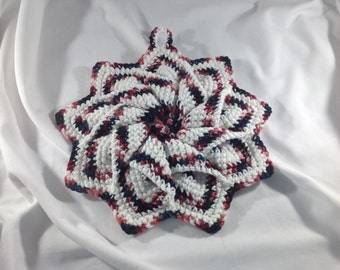 Crochet star potholder,  Crochet potholders, crochet flower potholder, handmade hot pad, crochet flower trivet,  Crochet trivet