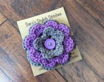 Crochet flower clip with button, hair clip, accessory