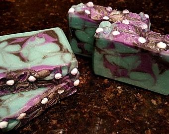 Orchid Rain Silk Artisan Soap Bar/ Cold Process Soap/ Silk Soap/ Orchid Soap/ Home made Soap/ Swirl Soap