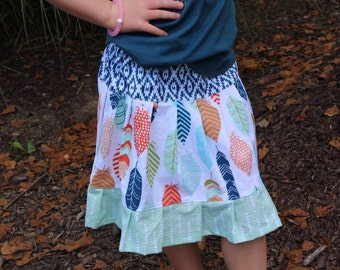 Little Girls Twirl Skirt, Little Girls Feather Skirt, Little Girls Spring Skirt, Feather Fabric, Girls Skirt