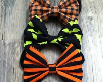 Halloween Bows on Black Nylon Headband, Hair Clip or Bow Tie Clip
