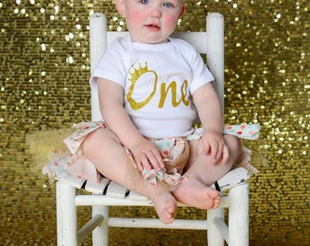 One Onsie , First Birthday Outfit, 1st Birthday, Gold Glitter Bodysuit, Baby Girl, Birthday Outfit, Birthday Girl, One Year Old,