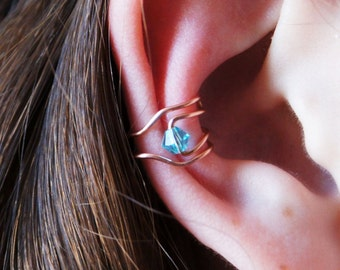 Wire ear cuff with bead (no piercing)