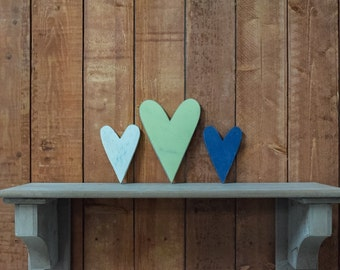 "Wooden Hearts - Shabby Chic Heart 8"" - Cottage, wedding, home decor - wooden hanging hearts"