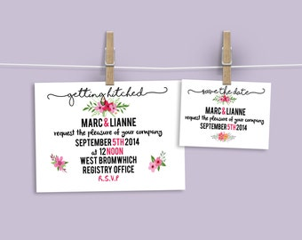 50 x Customisable Wedding Invitations and Save The Dates
