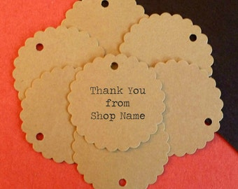 100 custom labels circle tags scalloped round tags kraft tags personalized tags gift tags price tags product tags supplies merchandise tags