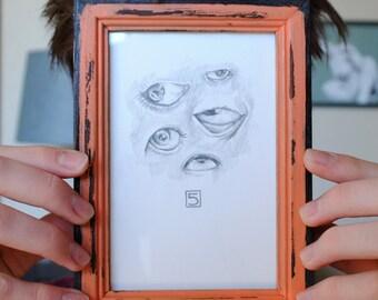 Five Little Eyes Illustration Framed