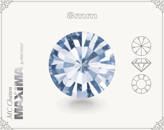 6 pc.+ SS39 (8mm) Preciosa MC Chaton MAXIMA - Light Sapphire Color