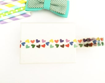 Colorful hearts washi tape, cute deco tape, paper tape, cute tape, packaging, wrap tape, colorful packaging,medium hearts,colorful gift,cute