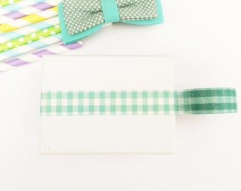 Aqua pastel gingham washi tape, cute deco tape, paper tape, cute tape,ginghamdeco tape, packaging, wrap tape,pastel colours,mint gingham