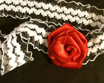 Red rose headband, red rose baby headband, red rose flower headband, rose headband, baby rose headband, toddler headband, newborn headband