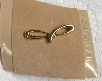 Vintage Goldtone Letter J Clutch Design Pin/Brooch