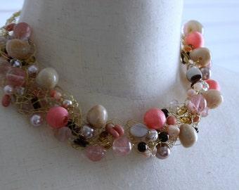 Coral, Cream, Brown Wire crochet jewelry, crochet bead jewelry, Statement Necklace, Wire Jewelry,  Crochet BeadNecklace, Bib Necklace