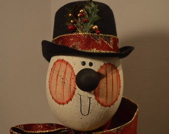 Folk Art Snowman Head on a Stick
