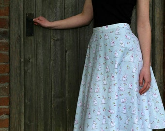 Bunny, rabbits, mint green, cotton skirt, 1950s style skirt, rabbit clothing, A line skirt. Made to order