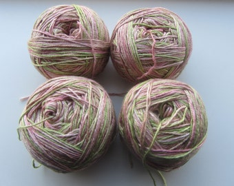 Handmaiden Sea Silk, 4 half-skeins, pink and green variegated, previously used and frogged