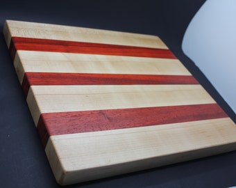 African padauk and hard maple cutting board.