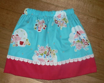 Girl's Size 5 Reversible Skirt- Grandma's flower garden/Ladybugs