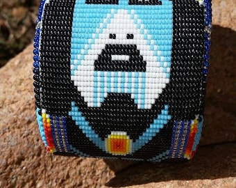 Awesome Peyote Stitch Beaded Indian Cuff lined with leather and SilverPlated Conchos