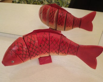 Old wooden fish. Wood Fish Sculptures Figurines Arts of the USSR. Rustic Decor