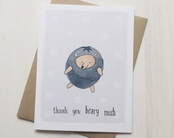 Thank You Card - Bluebeary - Watercolor Illustration
