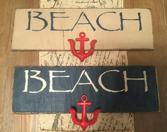 Beach sign with hook