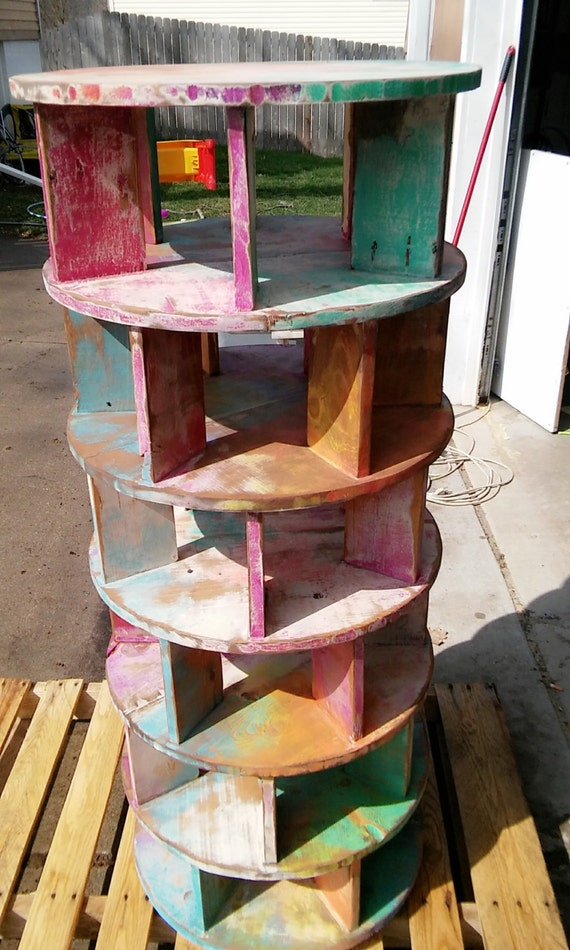 Reclaimed Pallet Wood Lazy Shoezie Tower Shelf Spinning Shoe Shelf Rotating 6 tier Shelf