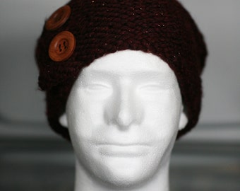Wool/Acrylic blend, hand made slouchy hat with buttons.