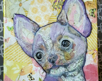 Lavender Chihuahua Torn Paper Painting