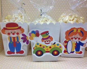 Clown, Circus, Carnival Party Popcorn or Favor Boxes - Set of 10