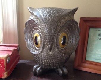 "Vintage Mid Century 7"" Metal Owl from Freeman & McFarlin Potteries of California"