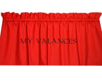 Solid Red Window Curtain Valance. Kids Boys Girls Room Kitchen Bathroom  Bedroom Topper LINING Option