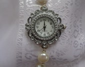 Classic Pearl Watch- Freshwater Pearl Watch- Genuine Pearl Watch- Silver Watch with White Pearls- Beautiful Pearl Watch- Elegant Time Piece