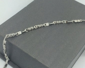 Rhodium Sterling Silver Bar Braclet
