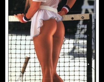 "Mature Playboy October 1991 : Playmate Centerfold Cheryl Bachman Gatefold Tennis 3 Page Spread Photo Wall Art Decor 11"" x 23"""
