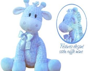 Jingles Giraffe Rattle Plush Baby Shower Baby Boy Blue Jungle Animals Rattle Plush